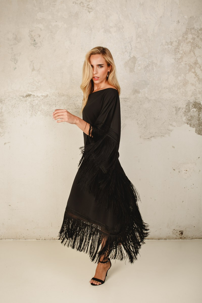 Azohia Fringe Dress Black